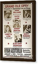 Vintage 1953 Grand Ole Opry Poster Acrylic Print by John Stephens