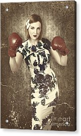 Vintage Boxing Pinup Poster Girl. Retro Fight Club Acrylic Print by Jorgo Photography - Wall Art Gallery