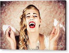 Vintage Bride Crying At The Alter With Tissues Acrylic Print by Jorgo Photography - Wall Art Gallery
