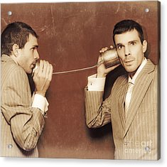 Vintage Business People Talking On Can Telephone Acrylic Print