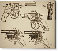 Vintage Colt Revolver Drawing  Acrylic Print by Nenad Cerovic
