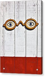 Vintage Eye Sign On Wooden Wall Acrylic Print by Garry Gay