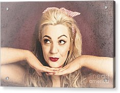 Vintage Face Of Nostalgia. Retro Blond 1940s Girl  Acrylic Print by Jorgo Photography - Wall Art Gallery