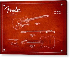 Vintage Fender Guitar Patent Drawing From 1951 Acrylic Print by Aged Pixel