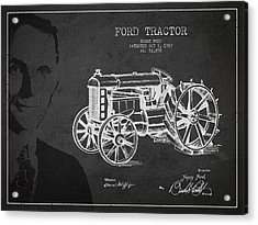Vintage Ford Tractor Patent Drawing From 1919 Acrylic Print