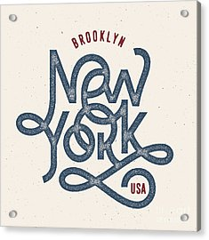 Vintage Hand Lettered Textured New York Acrylic Print by Tortuga