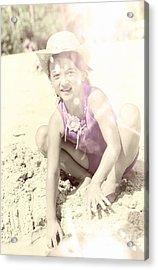 Vintage Image Of Child Building Sandcastle Acrylic Print