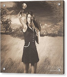 Vintage Pin Up Girl Pitching Baseball Acrylic Print