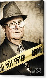 Vintage Portrait Of A Crime Detective Acrylic Print by Jorgo Photography - Wall Art Gallery