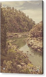 Vintage Rocky Mountain River In Forest Canyon Acrylic Print