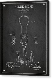 Vintage Stethoscope Patent Drawing From 1882 - Dark Acrylic Print by Aged Pixel