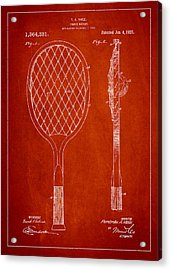Vintage Tennnis Racketl Patent Drawing From 1921 Acrylic Print
