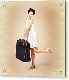 Vintage Travel Female Holding Old Fashion Suitcase Acrylic Print by Jorgo Photography - Wall Art Gallery