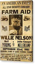 Vintage Willie Nelson 1985 Farm Aid Poster Acrylic Print