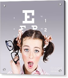 Vision Impaired Woman At Optometrist Acrylic Print