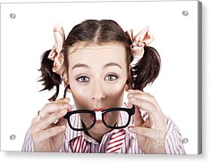 Visual Impaired Woman Trying To Read With Glasses Acrylic Print