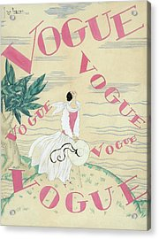 Vogue Magazine Cover Featuring A Woman Standing Acrylic Print by Georges Lepape