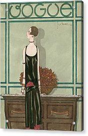 Vogue Magazine Cover Featuring A Woman Wearing Acrylic Print by Georges Lepape