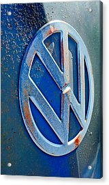 Volkswagen Vw Bus Front Emblem Acrylic Print by Jill Reger