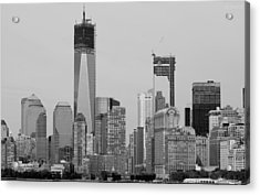 1 W T  C  And Lower Manhatten In Black And White Acrylic Print by Rob Hans