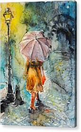 Walk At Night Acrylic Print by Kovacs Anna Brigitta