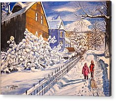 Walking Home Acrylic Print by Jim  Reale