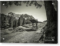 walking in the Alps - bw Acrylic Print by Hannes Cmarits