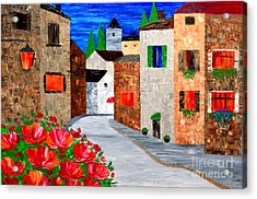 Walking In The Old Town Acrylic Print
