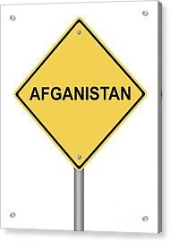 Warning Sign War Acrylic Print by Henrik Lehnerer