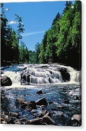 Water Flowing From Rocks In A Forest Acrylic Print