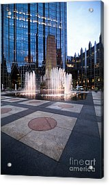 Water Fountain At Ppg Place Plaza Pittsburgh Acrylic Print by Amy Cicconi