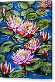 Acrylic Print featuring the painting Water Lilies by Harsh Malik