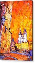 Watercolor Of Prague Sunrise Acrylic Print by Ryan Fox