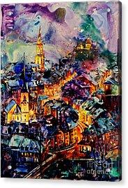 Watercolor On Yupo Synthetic Paper Of Bern Switzerland Acrylic Print by Ryan Fox