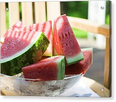 Watermelon Wedges In A Bowl Of Ice Cubes Acrylic Print