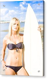 Watersport Woman Holding Surfboard Acrylic Print by Jorgo Photography - Wall Art Gallery