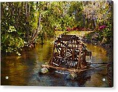 Waterwheel Acrylic Print by Noel Steele