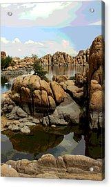 Watson Lake Reflections Acrylic Print by Greg Thiemeyer