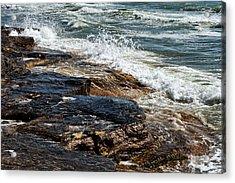 Waves Break On The Rocks. Acrylic Print by Alexandr  Malyshev