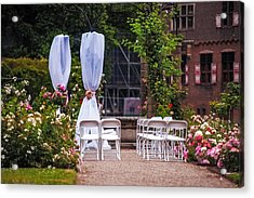 Wedding Arrangement In De Haar Castle. Utrecht Acrylic Print by Jenny Rainbow