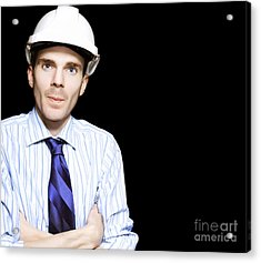 Well Dressed Engineer Isolated On Black Background Acrylic Print by Jorgo Photography - Wall Art Gallery