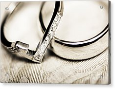White Gold Wedding Rings Acrylic Print