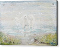 Acrylic Print featuring the painting White Horses by Cathy Long