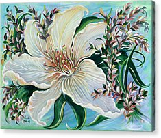 Acrylic Print featuring the painting White Lily by Yolanda Rodriguez
