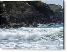 White Surf Acrylic Print by Brian Roscorla