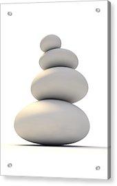 White Zen Stones Acrylic Print
