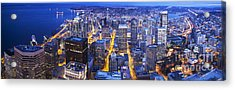 Wide Seattle Cityscape Acrylic Print by Mike Reid