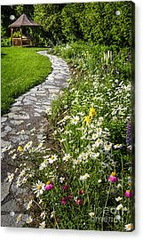 Wildflower Garden And Path To Gazebo Acrylic Print by Elena Elisseeva