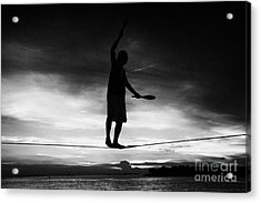 Will Soto Tighrope Walker Performing At The Evening Sunset Celebrations Mallory Square Key West Flor Acrylic Print by Joe Fox