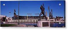 Willie Mays Statue In Front Acrylic Print by Panoramic Images